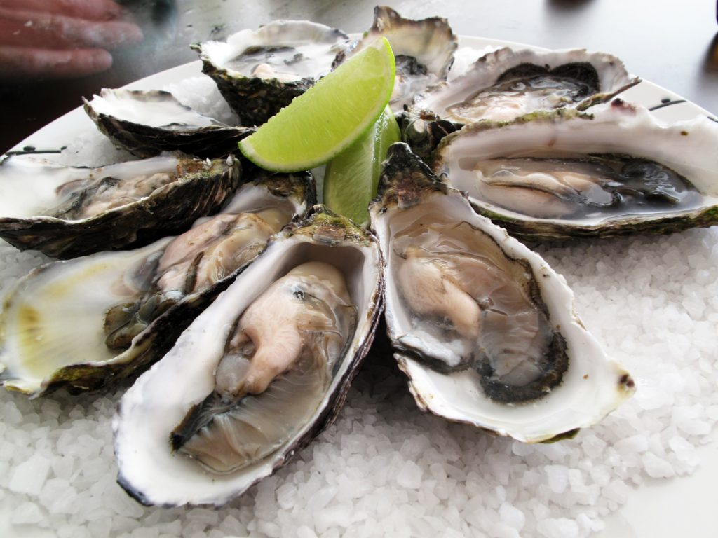 Oysters in their shells served with lime wedges, Virginia