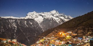 Exploring Nepal,Aerial view of Namche Bazaar, Everest trek, Himalaya, Nepal