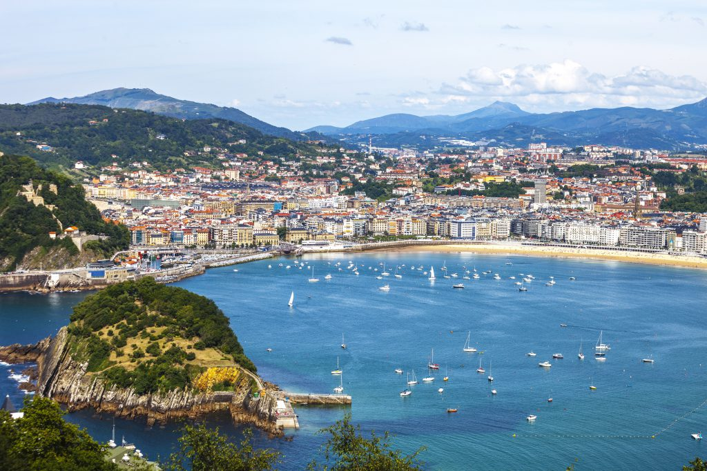 View to San Sebastian from top of the hill