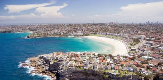Aerial view of Sydney's Bondi beach.
