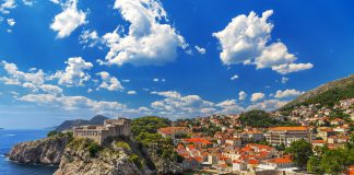 Croatia. South Dalmatia. Dubrovnik - Fortresses Lovrijenac (left side) and Bokar seen from south old walls