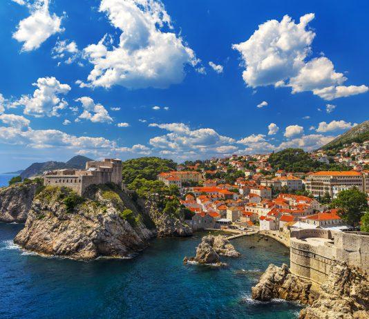 Croatia. South Dalmatia. Dubrovnik - Fortresses Lovrijenac (left side) and Bokar seen from south old walls