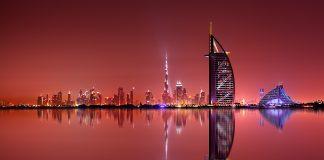 Dubai skyline reflection at night, Dubai, United Arab Emirates, things to do in Dubai