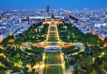 Night view of Champ de Mars, Paris - France
