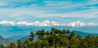 Himalayan panorama seen from a viewpoint in Daman village, near Kathmandu, honeymoon in nepal