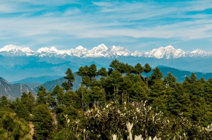Himalayan panorama seen from a viewpoint in Daman village, near Kathmandu, honeymoon in nepal