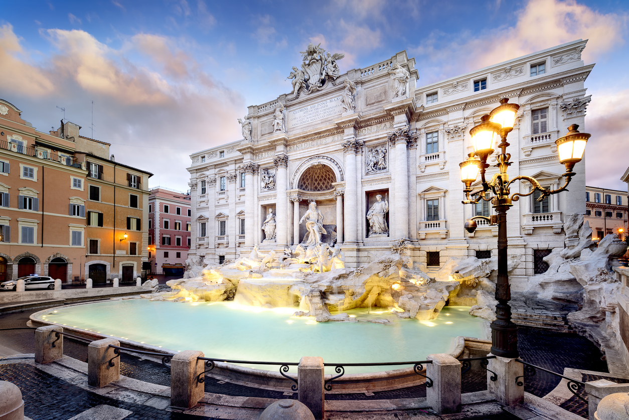 Trevi Fountain, the largest Baroque fountain in the city and one of the most famous fountains in the world located in Rome, Italy., rome on a budget