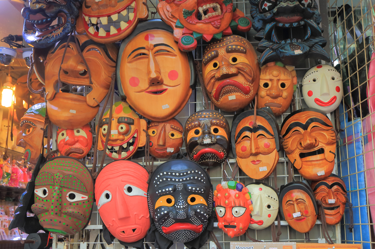 Masks on display at a Souvenir shop in Insadong Ssamji shopping street in Seoul South Korea - shopping in seoul