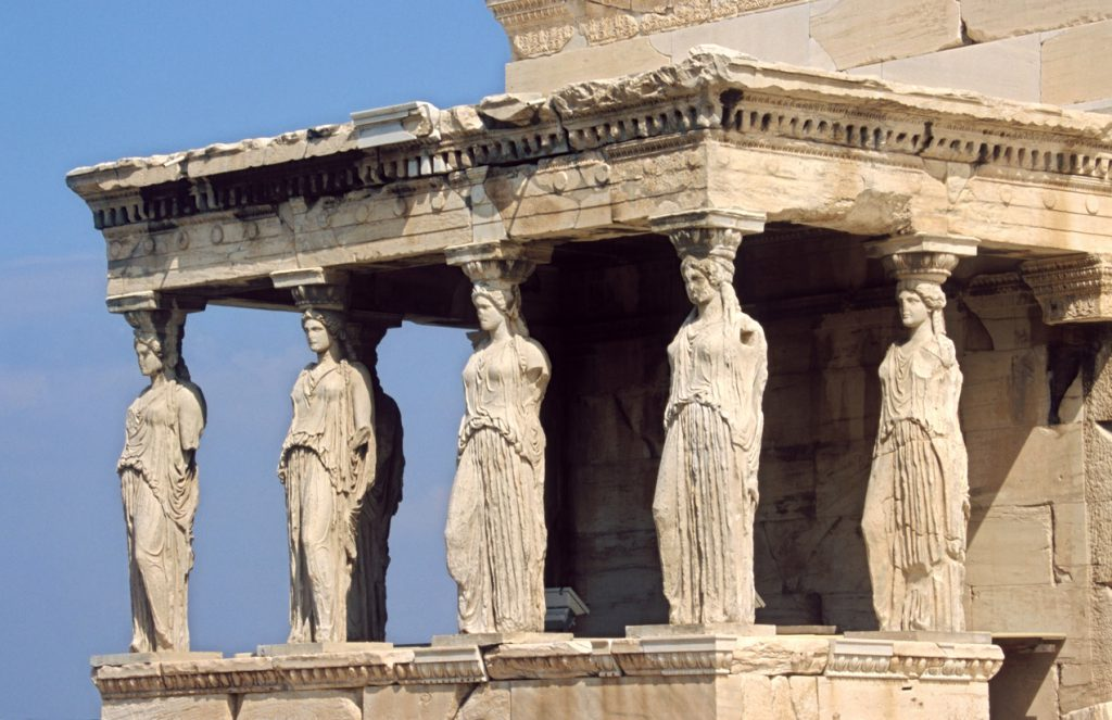 oldest cities- athens, Caryatid is the famous Greece Landmark in Acropolis, Athens, Greece.