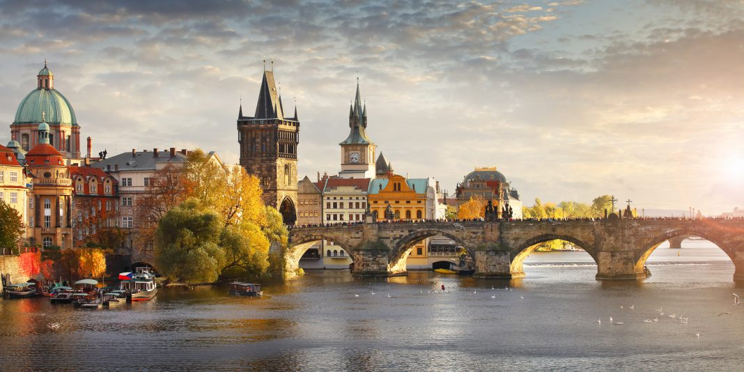 Vltava river and Charles bridge in Prague, capital of the Czech republic