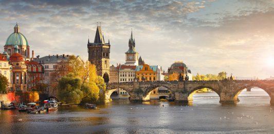 Vltava river and Charles bridge in Prague, capital of the Czech republic