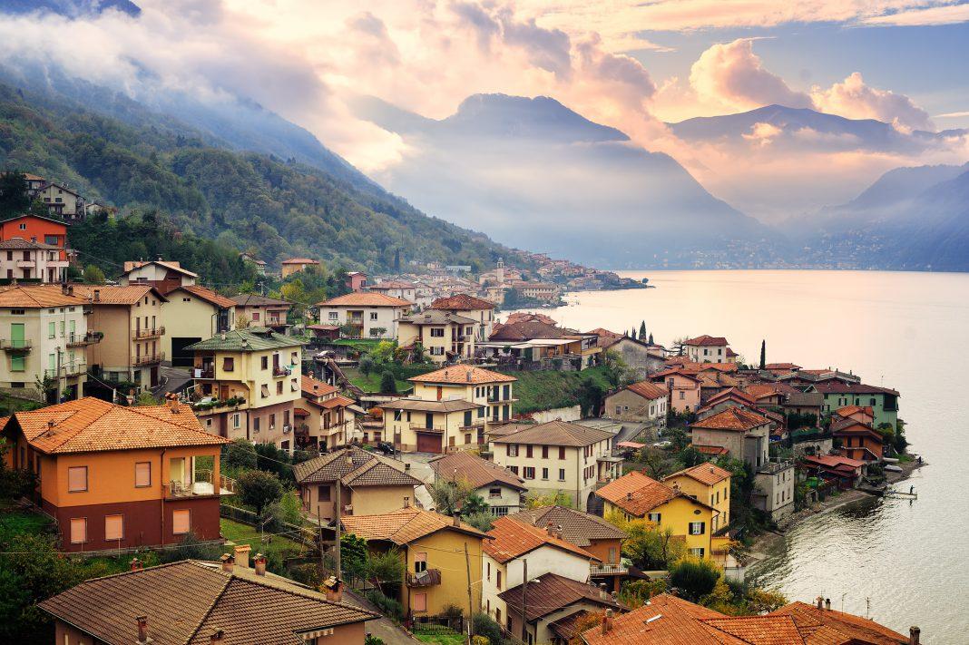 The Alps from Lake Como, Milan, Italy