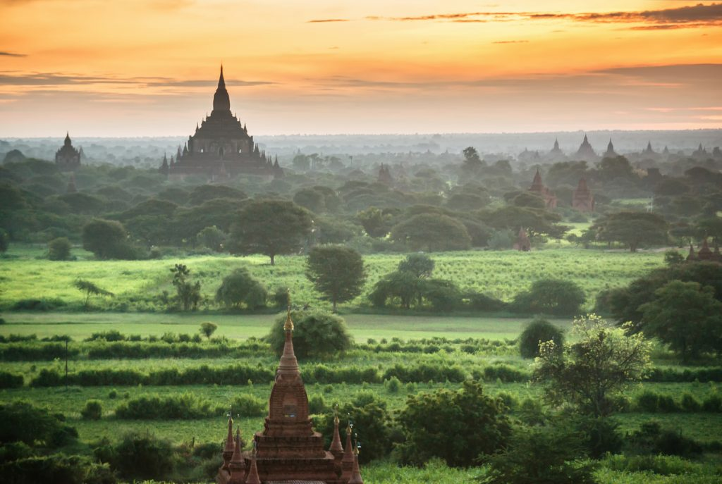 Old Bagan, Sunrise in Bagan, Myanmar. Bagan is ancient city with thousands of ancient temples, buddhist temples