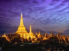 Shwedagon pagoda at sunset, Yangon Myanmar - Tamu