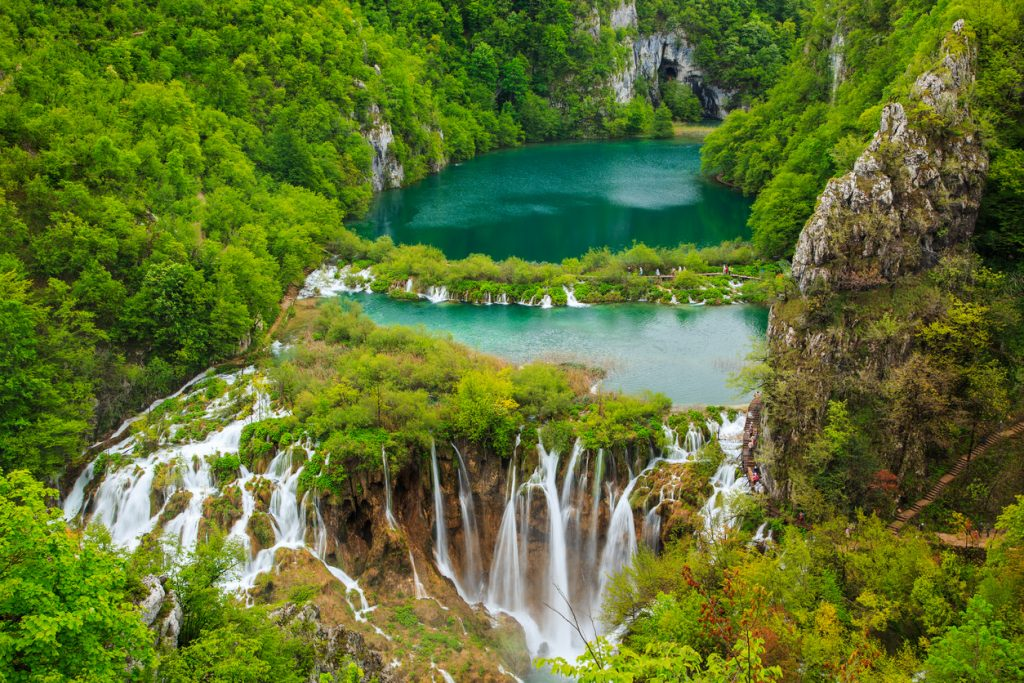Interconnected waterfalls in Plitvice National Park, Croatia