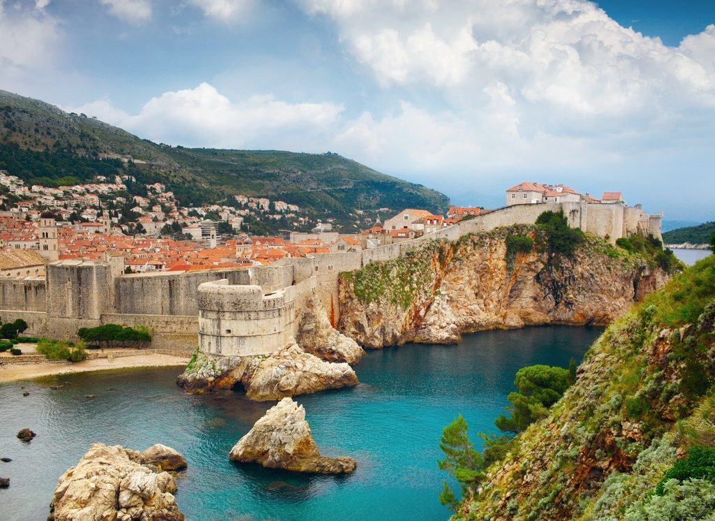 The famous city walls of Dubrovnic, Croatia