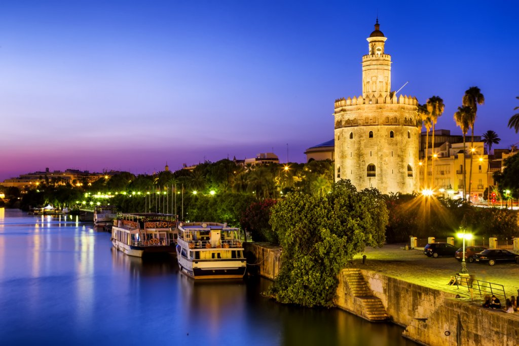 View of Golden Tower (Torre del Oro) of Seville, Andalusia, is among the best places to see in Spain