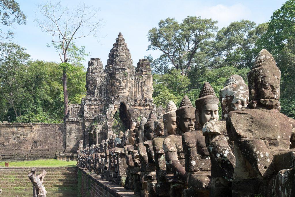 Deva or deity row at entrance of Angkor Thom,Siem Seap, Cambodia.