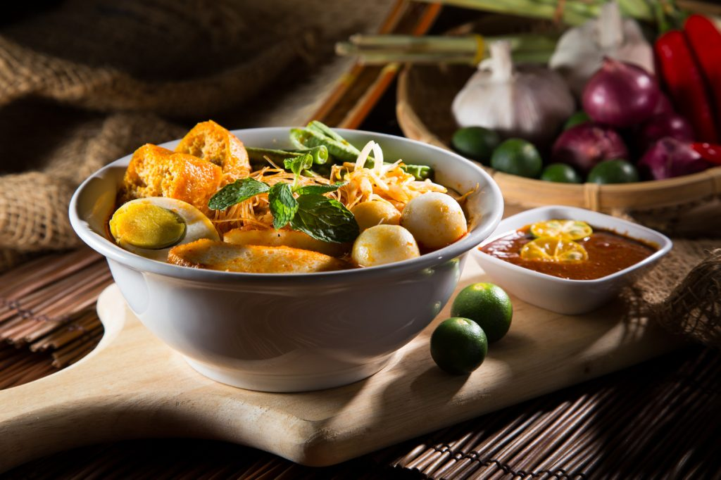 traditional curry spicy noodle soup, Noodle Dishes