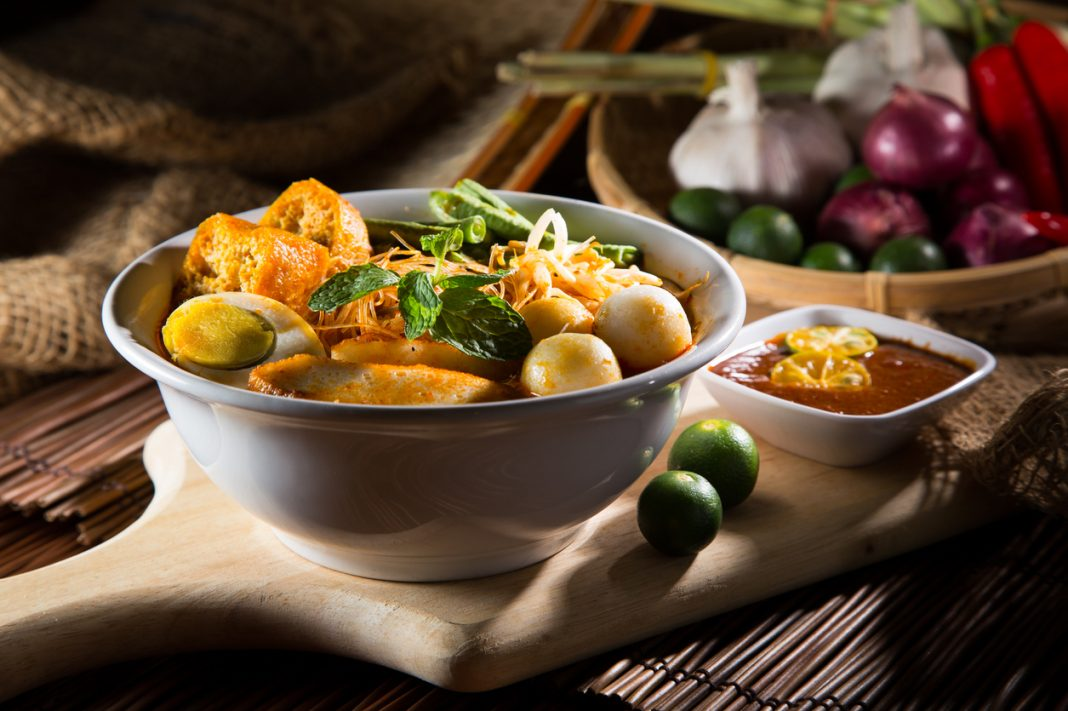traditional curry spicy noodle soup