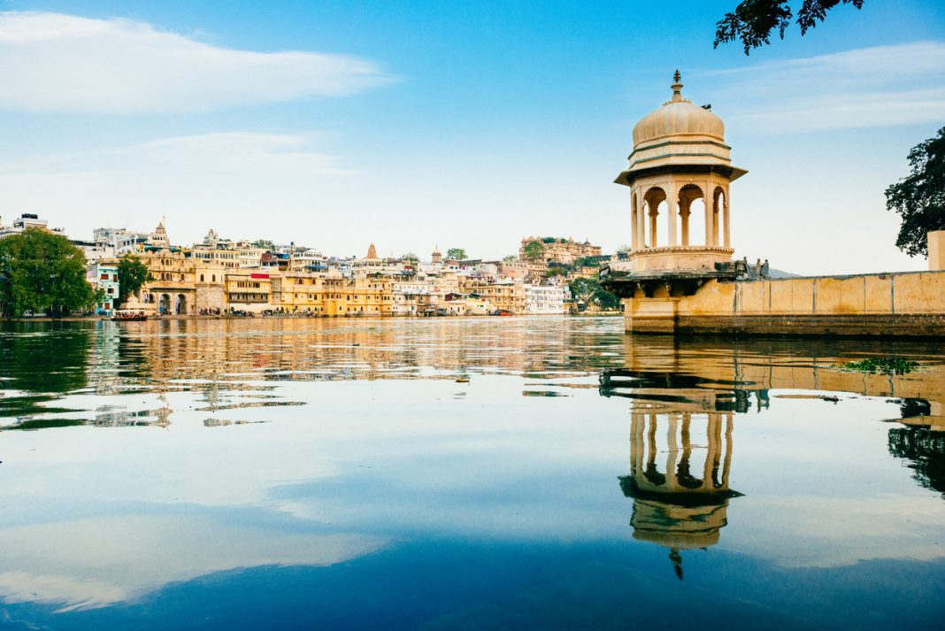 Udaipur Skyline from the Lake Pichola, Rajasthan. India, the most beautiful cities in india