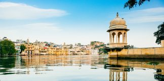 Udaipur Skyline from the Lake Pichola, Rajasthan. India
