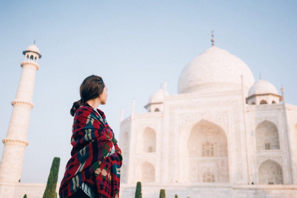 A woman at the Taj Mahal