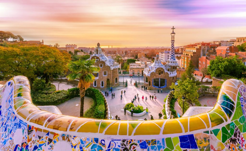 The amazing Park Guel in Barcelona, Spain