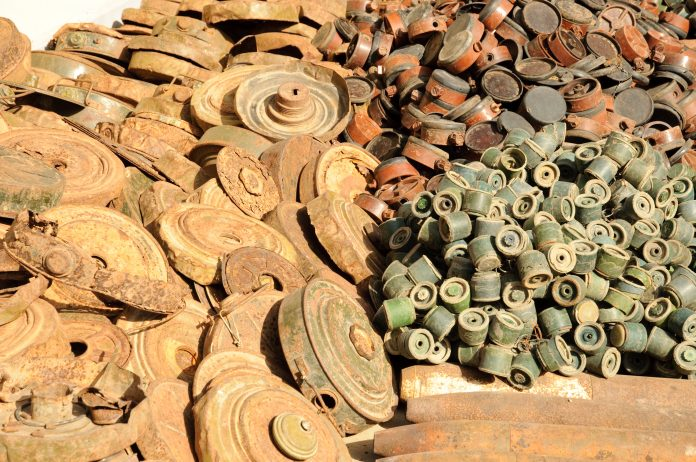 Old Cambodian landmines from the civil war.