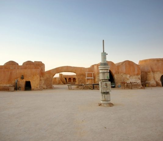 Remains of buildings from the set of Star Wars in Ong Jemel, near Tozeur in Tunisia