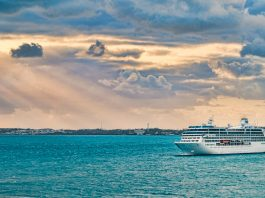 A cruise ship arrives at King's Wharf in the Royal Navy Dockyard, Bermuda - world cruise