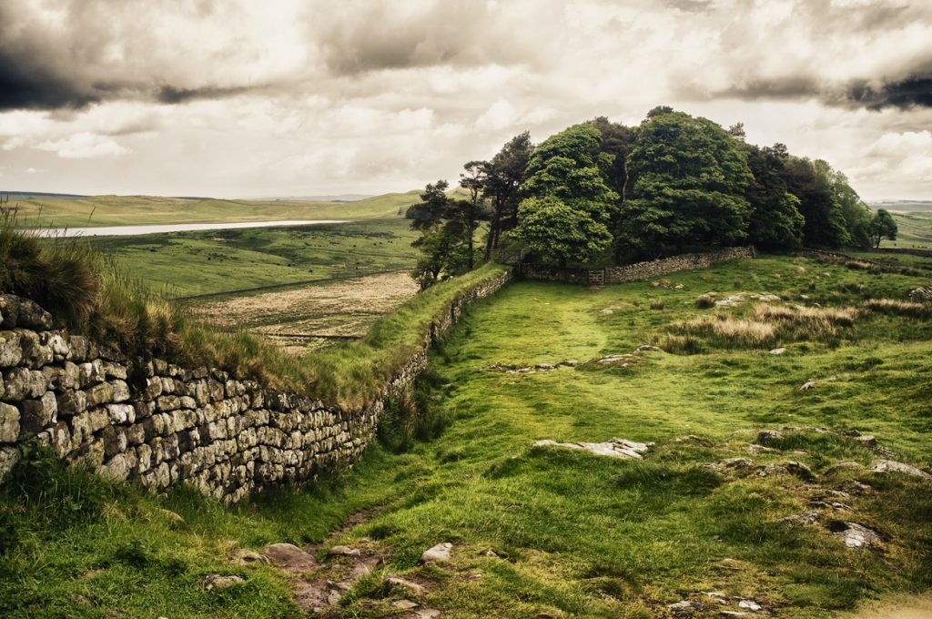 Hadrian's Wall in Northern England with dramatic processing.