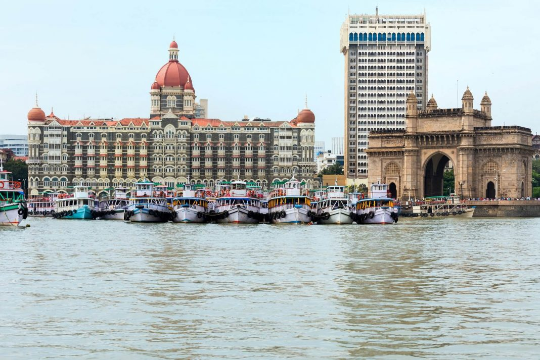 Gateway of India and Taj Gateway Hotel as seen from the Arabian Sea in Mumbai