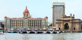 Gateway of India and Taj Gateway Hotel as seen from the Arabian Sea in Mumbai