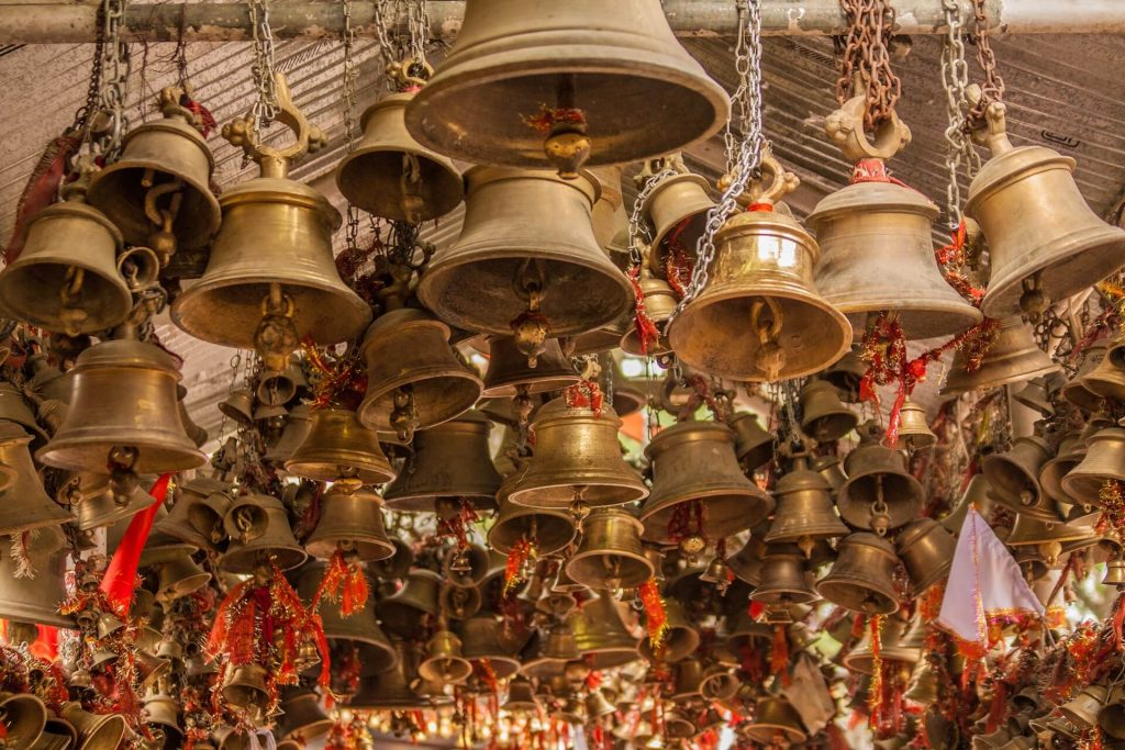 Vast number of bells hanging at the Jhula Devi Temple in dedication to the Goddess