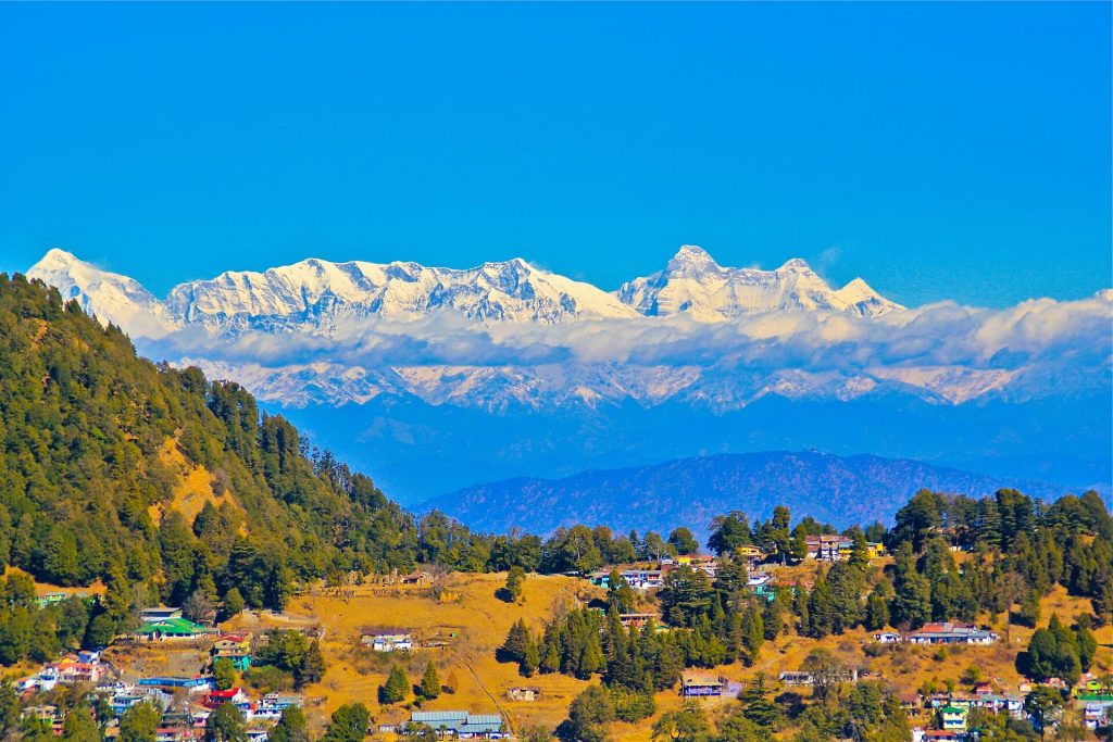 View of the Himalayas from the Nainital District
