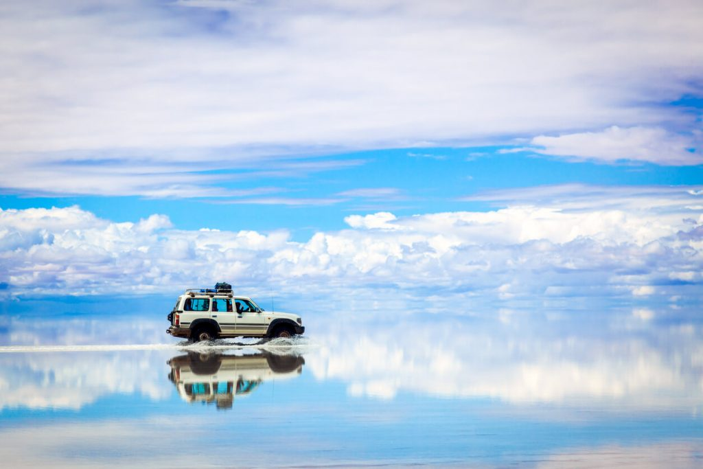 Driving in the Salar de Uyuni