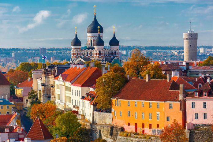 Aerial view old town, Tallinn