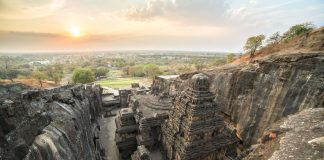 Kailas temple in Ellora caves complex in India