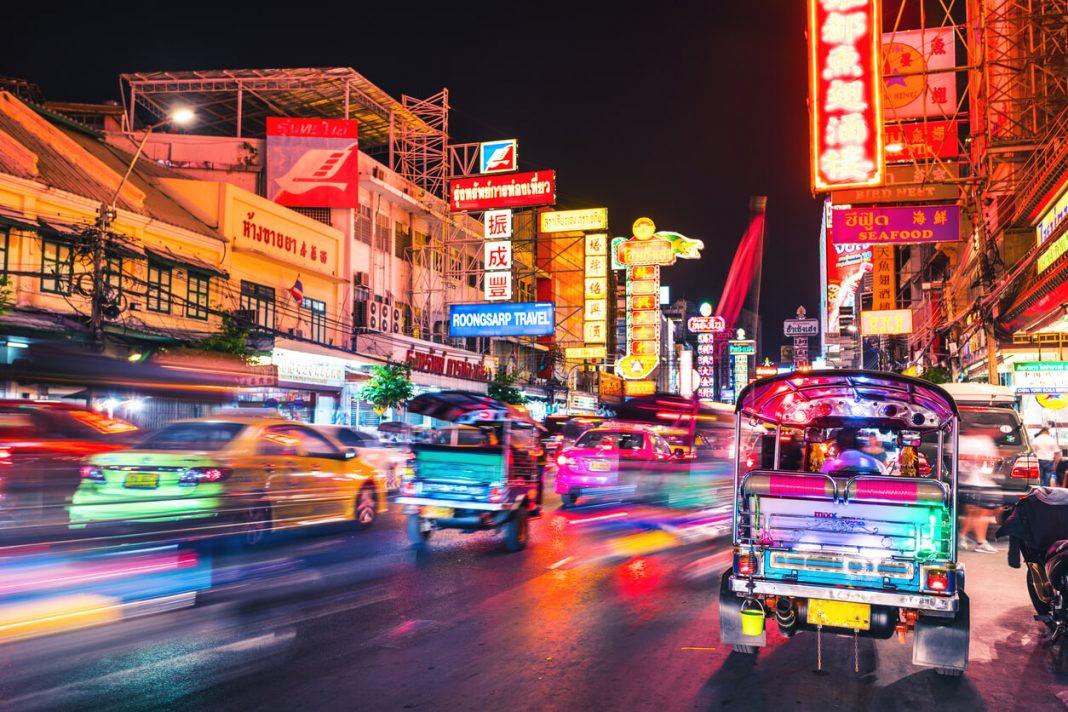 Bangkok's busy streets at night