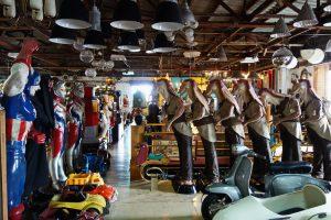 Collection of items at the Papaya vintage shop - unusual things to do in Bangkok