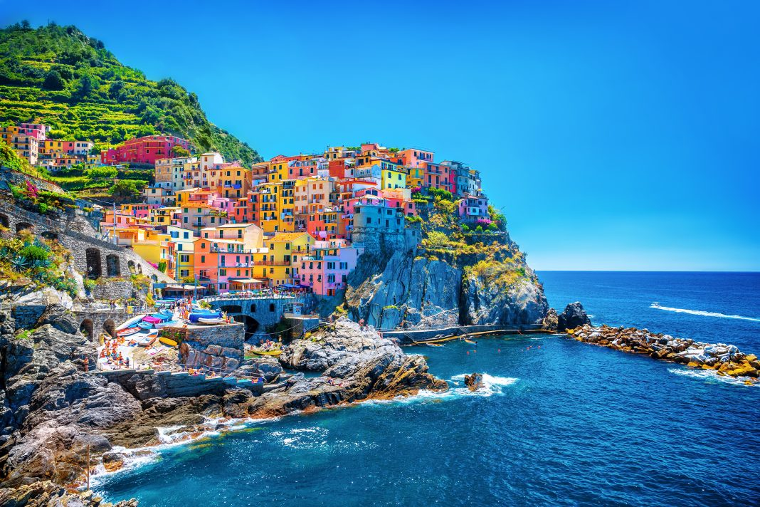 Landscape view of Cinque Terre, traditional Italian architecture, Italy
