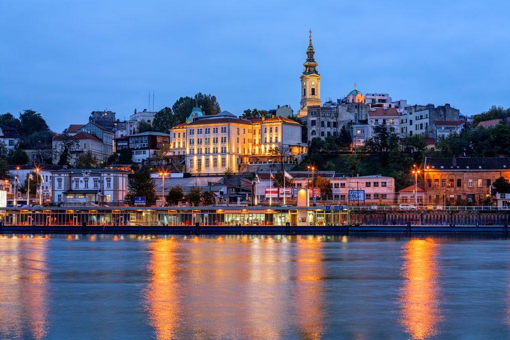 Panorama of Belgrade at night with river Sava, Serbia, Yugoslavia