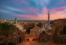 Park Guell with dramatic sky in Barcelona, Spain