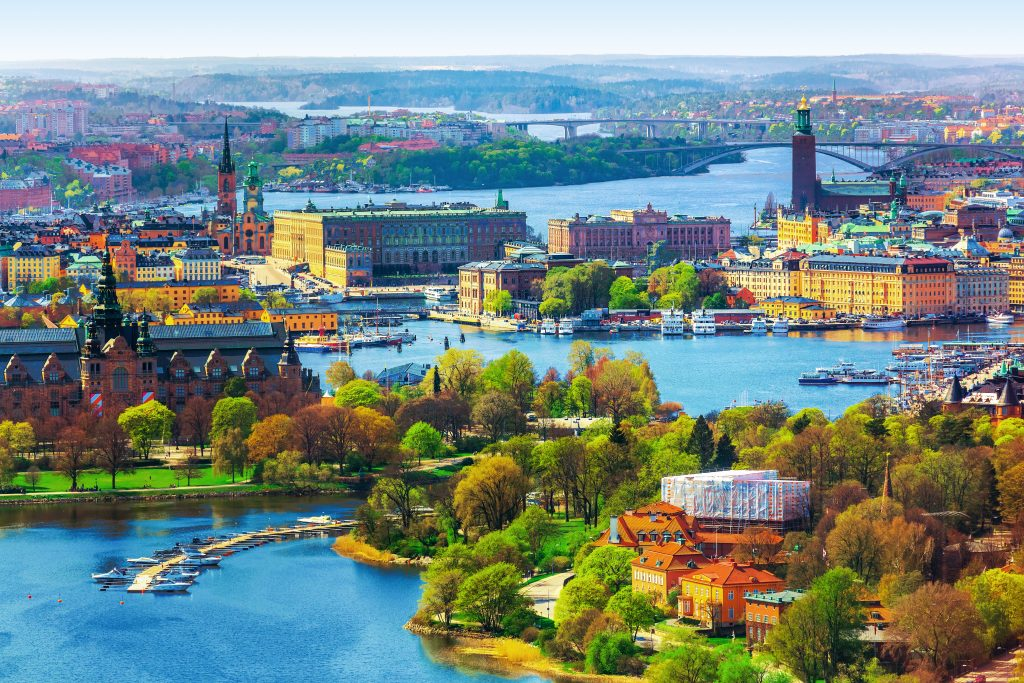 Aerial panorama of the Old Town (Gamla Stan) architecture in Stockholm, Sweden
