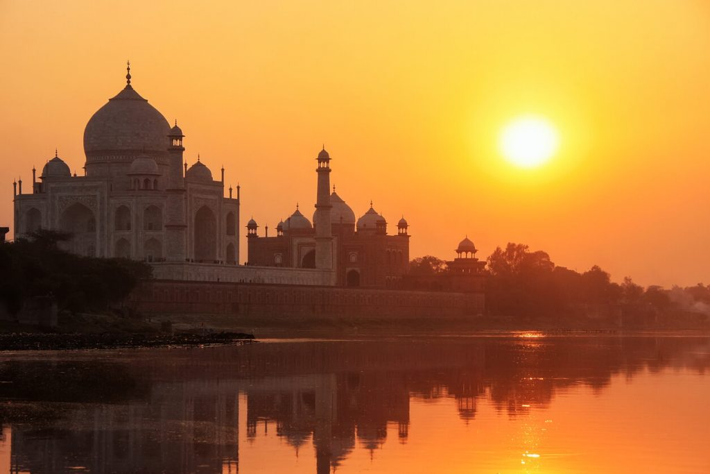 Sunset over the Taj Mahal and the Yamuna River