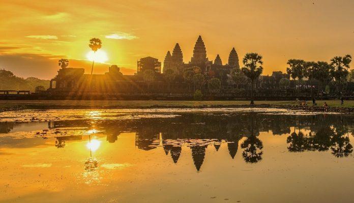 The sun sets on Angkor Wat, Cambodia