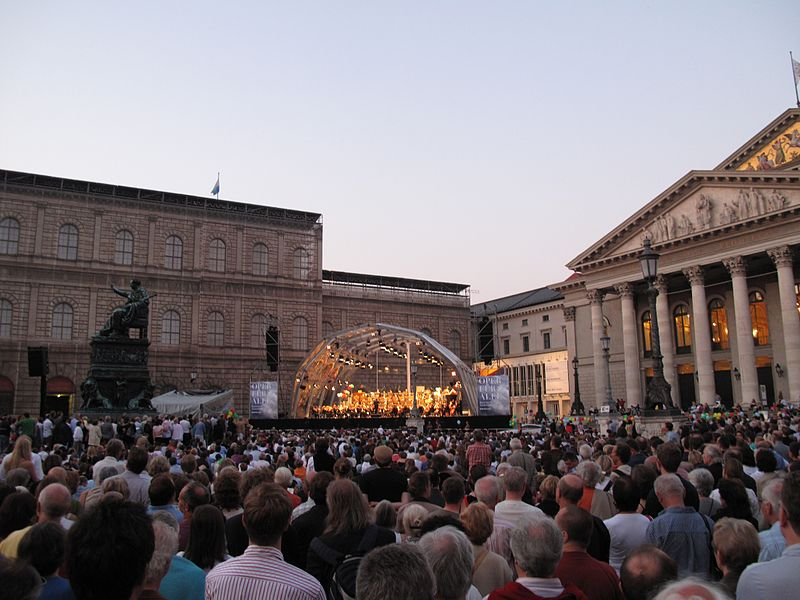 """Free Concert of the Philharmonic Orchestra of the Bavarian State Opera under the title """"Opera for all"""" as part of the Munich Opera Festival in Germany"""