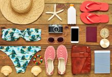 Assorted summer travel items