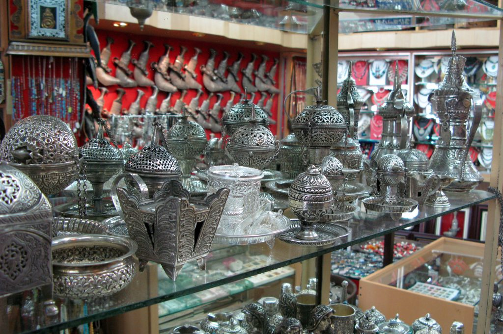 Silver Merchandise on display at Muttrah Souq in Oman